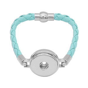 Blaue Leder-Snap-Armbänder KC0540 fit 20mm Snaps Chunks 1-Taste