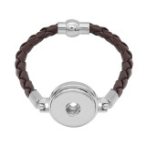 Bracelets en cuir marron KC0535 fit 20mm s'enclenche chunks bouton 1
