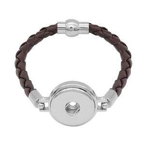 Braune Leder-Snap-Armbänder KC0535 fit 20mm Snaps Chunks 1-Taste