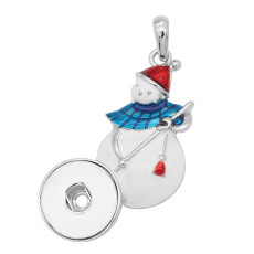snap sliver Christmas enamel Pendant fit 20MM snaps style jewelry KC0490