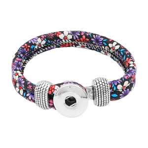 Bracelets à pression en cuir multicolore violet KC0554 fit 20mm s'enclenche chunks bouton 1