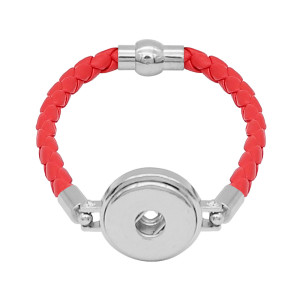 Red Leather Snap Armbänder KC0534 fit 20mm Snaps Chunks 1-Taste
