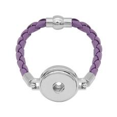 Bracelets en cuir violet KC0539 fit 20mm s'enclenche chunks bouton 1