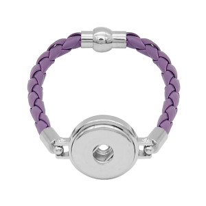 Purple Leather Snap Armbänder KC0539 fit 20mm Snaps Chunks 1-Taste