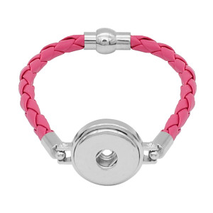 Rose Leather Snap Armbänder KC0533 fit 20mm Snaps Chunks 1-Taste