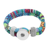 Multicolour cloth Snap bracelets KC0550 fit 20mm snaps chunks 1 button
