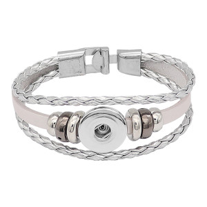 Silber Leder Snap Armbänder KC0531 fit 20mm Snaps Chunks 1 Button
