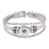 Серебряные кожаные браслеты с защелкой KC0531 fit 20mm защелки на кнопках 1