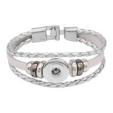 Silber Leder Snap Armbänder KC0531 fit 20mm Snaps Chunks 1 Button