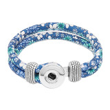 Bracelets à pression en cuir bleu multicolore KC0555 fit 20mm s'enclenche chunks bouton 1