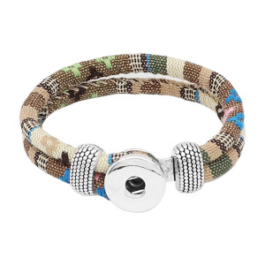 Mehrfarbige Stoff-Snap-Armbänder KC0553 fit 20mm-Snaps-Chunks 1-Button