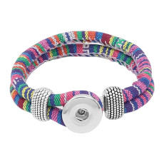 Multicolour cloth Snap bracelets KC0551 fit 20mm snaps chunks 1 button