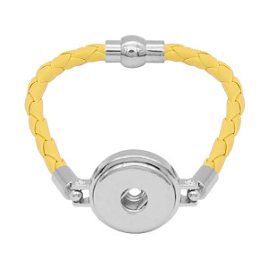Gelbe Leder-Snap-Armbänder KC0541 fit 20mm Snaps Chunks 1-Taste