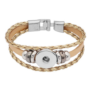 Gold Leder Snap Armbänder KC0532 fit 20mm Snaps Chunks 1-Taste