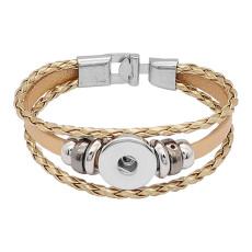Bracelets en cuir doré KC0532 fit 20mm s'enclenche chunks bouton 1