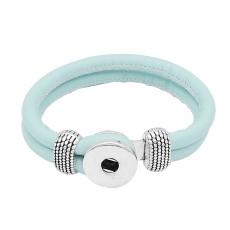 Blaue Leder-Snap-Armbänder KC0542 fit 20mm Snaps Chunks 1-Taste