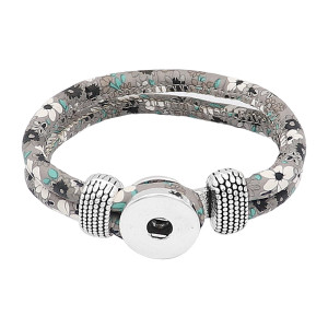 Bracelets à pression en cuir gris multicolore KC0556 fit 20mm s'enclenche chunks bouton 1