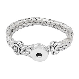 Silber Leder Snap Armbänder KC0546 fit 20mm Snaps Chunks 1 Button