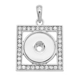 snap sliver Pendant with Rhinestone fit 20MM snaps style jewelry KC0499