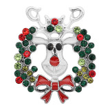 20MM Christmas snap Silver Plated with  Rhinestone charms KC9334 snaps jewerly