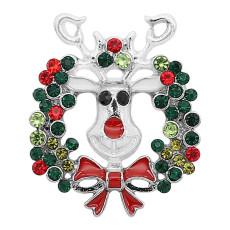Broche de Navidad 20MM Plateado con encantos de diamantes de imitación KC9334 se ajusta a presión