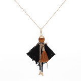 Collier d'alliage de poupée de plume de mode 70cm avec des strass