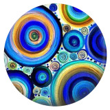 20MM blue circles Painted enamel metal C5948 print Blue