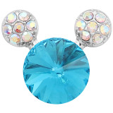 20MM Cartoon snap Silver Plated with blue Rhinestone charms KC8224 snaps jewerly