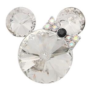 20MM Broche de dibujos animados Plateado con encantos de diamantes de imitación blancos KC8226 se ajusta a presión