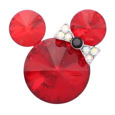 20MM Broche de dibujos animados plateado con encantos de diamantes de imitación rojos KC8231 se ajusta a presión