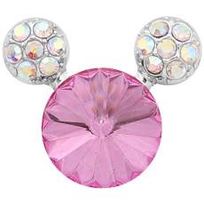 20MM Broche de dibujos animados plateado con encantos de diamantes de imitación rosa KC8223 se ajusta a presión
