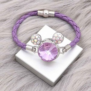 20MM Cartoon snap Silver Plated with purple Rhinestone charms KC8221 snaps jewerly