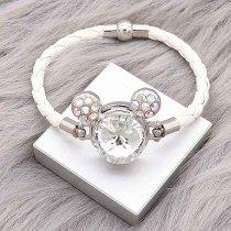 20MM Broche de dibujos animados Plateado con encantos de diamantes de imitación blancos KC8220 se ajusta a presión