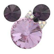 20MM Broche de dibujos animados Plateado con encantos de diamantes de imitación morados KC8230 se ajusta a presión