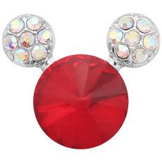20MM Broche de dibujos animados Plateado con encantos de diamantes de imitación rojos KC8225 se ajusta a presión