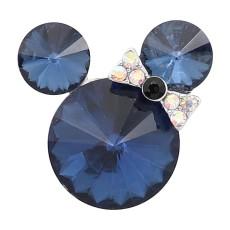 20MM Broche de dibujos animados plateado con dijes de diamantes de imitación azul marino KC8227 se ajusta a presión