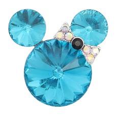20MM Broche de dibujos animados Plateado con encantos de diamantes de imitación azules KC8229 se ajusta a presión