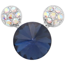 20MM Cartoon snap Silver Plated with Navy Blue Rhinestone charms KC8222 snaps jewerly