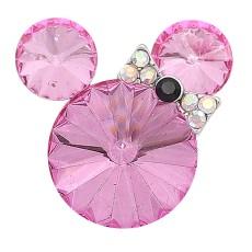 20MM Broche de dibujos animados plateado con encantos de diamantes de imitación rosa KC8228 se ajusta a presión