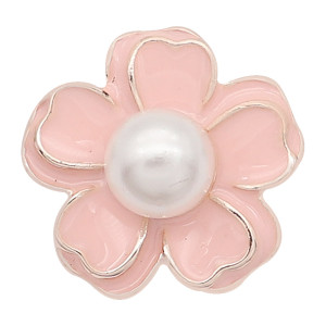 20MM Snap Gold Plated Flowers mit Perle und Pink Emaille KC8218 Snaps Jewerly