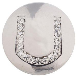 20MM Letter U Snap versilbert mit tschechischen Diamanten KC5235 snaps jewelry