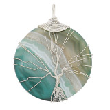 Pierre naturelle agate arbre de vie cuivre Pendentif de collier dans la nuit de la lune