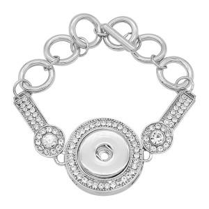 1 кнопки оснастки серебристый браслет с белыми стразами подходят оснастки ювелирные изделия KC0562