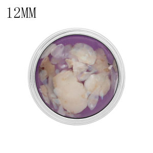 12MM snap Silver Plated With purple shell KS7173-S charms snaps jewerly