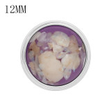 12MM snap Silver Plated Avec shell violet KS7173-S breloques s'enclenchent joaillier