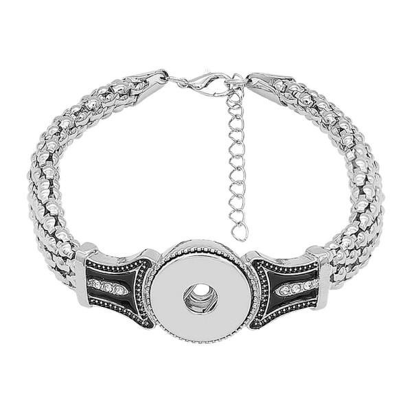 1 кнопки оснастки серебристый браслет с белыми стразами подходят оснастки ювелирные изделия KC0561