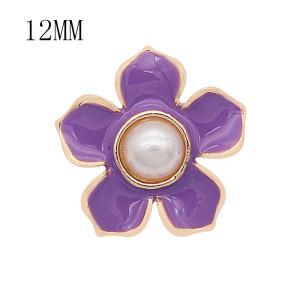 12MM Druckknopf vergoldet Blumen versilbert lila Emaille KS7179-S Druckknopf versilbert