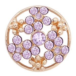 20MM snap gold plated Plated with purple Rhinestone KC8240 snaps jewerly