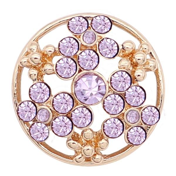 20MM composant logiciel enfichable plaqué or avec strass violet KC8240 s'enclenche dans les bijoux