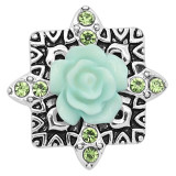 20MM snap silver Plated with Green resin flower KC8238 snaps jewerly